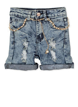 Girls 7-16 Faux Pearl Belted Jean Shorts - 1621056720031