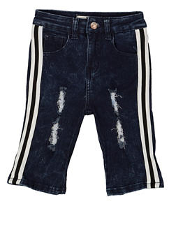Girls 7-16 Striped Tape Frayed Denim Bermuda Shorts - 1621056720034