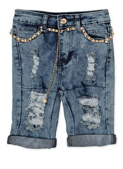 Girls 7-16 Distressed Roll Cuff Bermuda Shorts - 1621056720037