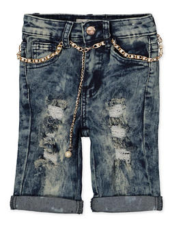 Girls 7-16 Frayed Acid Wash Bermuda Shorts - 1621056720040