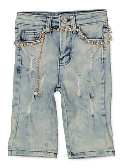 Girls 7-16 Faux Pearl Belt Bermuda Shorts - 1621056720041