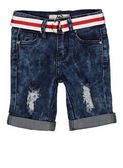 Girls 7-16 Striped Belt Denim Bermuda Shorts | 1621056720042 - 1621056720042