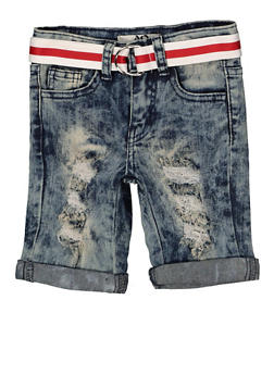 Girls 7-16 Striped Belt Denim Bermuda Shorts - 1621056720043