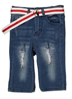 Girls 7-16 Belted Frayed Bermuda Shorts - 1621056720045