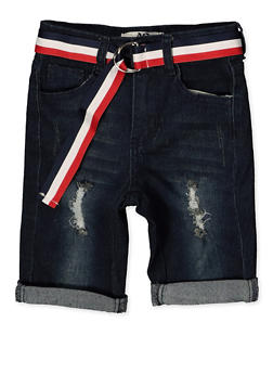 Girls 7-16 Striped Belt Roll Cuff Bermuda Shorts - 1621056720046