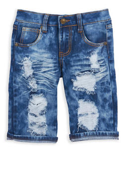 Girls 7-16 Destroyed Denim Bermuda Shorts - 1621063400049