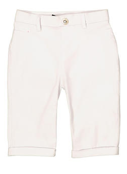 Girls 7-16 Hyperstreatch Bermuda Shorts | White - 1621063400136