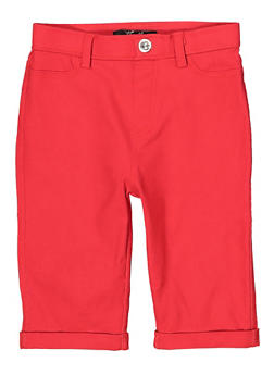 Girls 7-16 Hyperstretch Bermuda Shorts | Red - 1621063400137