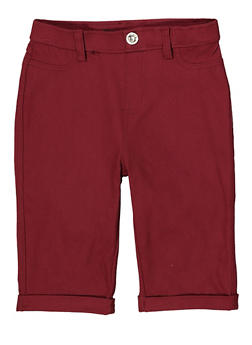 Girls 7-16 Hyperstretch Bermuda Shorts | Burgundy - 1621063400141
