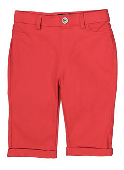 Girls 7-16 Hyperstretch Bermuda Shorts | Coral - 1621063400142