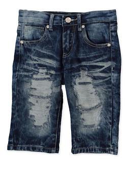 Girls 7-16 Destruction Denim Bermuda Shorts - 1621063400159