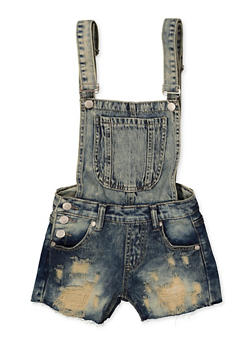 Girls 7-16 Raw Hem Destruction Denim Shortalls - 1621063400165