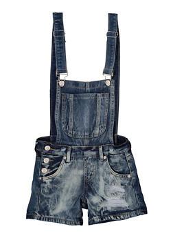 Girls 7-16 Distressed Denim Shortalls - 1621063400166