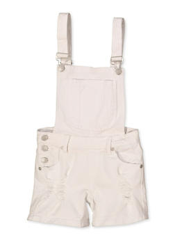 Girls 7-16 Frayed Denim Shortalls | White - 1621063400170