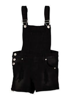 Girls 7-16 Frayed Denim Shortalls | Black - 1621063400171