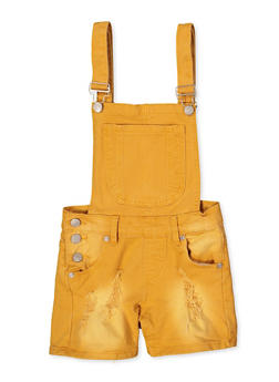 Girls 7-16 Frayed Denim Shortalls | Mustard - 1621063400172
