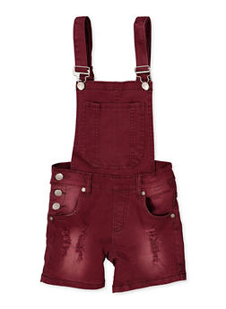 Girls 7-16 Frayed Denim Shortalls | Wine - 1621063400173