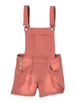 Girls 7-16 Frayed Denim Shortalls | Mauve - 1621063400174