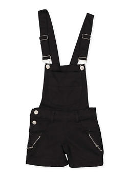 Girls 7-16 Zip Detail Hyperstretch Shortalls   Black - 1621063400180