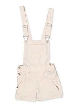 Girls 7-16 Zip Detail Hyperstretch Shortalls | White - 1621063400181