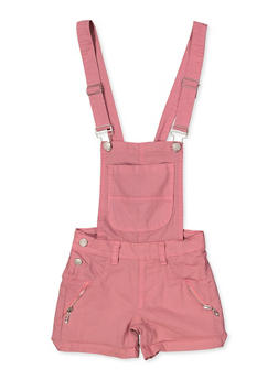 Girls 7-16 Zip Detail Hyperstretch Shortalls | Mauve - 1621063400182