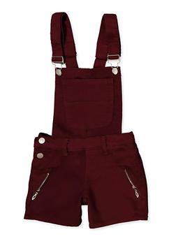 Girls 7-16 Zip Detail Hyperstretch Shortalls | Wine - 1621063400183