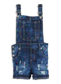 Girls Paint Splatter Distressed Denim Shortalls - 1621063400229