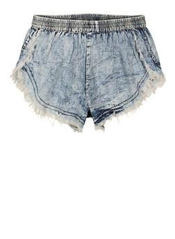 Girls Frayed Denim Shorts - 1621063400246