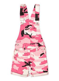 Girls 7-16 Pink Camo Twill Shortalls - 1621065300013