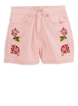 Girls 7-16 Embroidered Twill Shorts - 1621073990004
