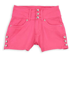 Girls 7-16 3 Button Rhinestone Accented Shorts - 1621073990006