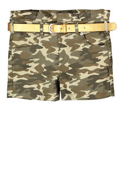 Girls 7-16 Camo Paper Bag Waist Shorts - 1621073990007