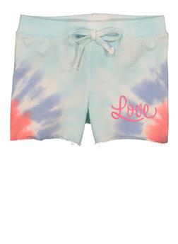 Girls Love Tie Dye Shorts - 1621075170033