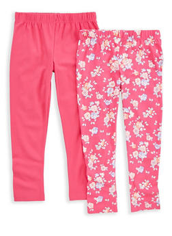 Girls 4-6x 2 Pack Floral and Solid Leggings - 1622023130004