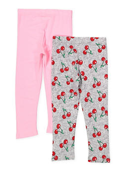 Girls 4-6x Set of 2 Solid and Printed Leggings - 1622061950031