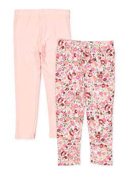 Girls 4-6x 2 Pack Floral and Solid Leggings | 1622061950032 - 1622061950032