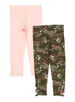 Girls 4-6x Set of 2 Solid and Camo Print Leggings - 1622061950034