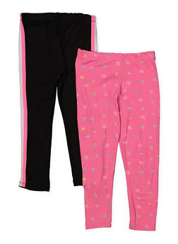 Girls 4-6x Set of 2 Solid and Star Print Leggings - 1622061950037