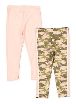 Girls 4-6x 2 Pack Camo and Solid Leggings - 1622061950038