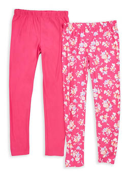 Girls 7-16 Floral Print and Solid Leggings - 1623023130004