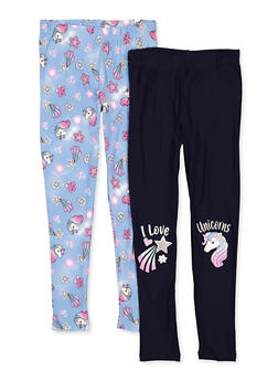 Girls 7-16 Set of 2 Unicorn Leggings - 1623023130015