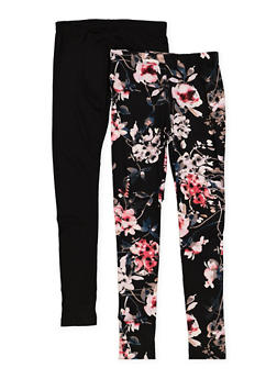 Girls 7-16 Set of 2 Black Floral and Solid Leggings - 1623060580010