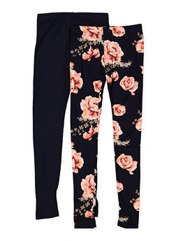 Girls 7-16 Set of 2 Floral and Solid Leggings - 1623060580011