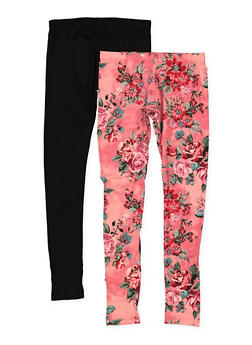 Girls 7-16 Set of 2 Floral and Solid Leggings - 1623060580012
