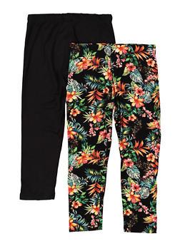Girls 7-16 2 Pack Floral Solid Leggings - 1623060580015