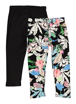Girls 7-16 Set of Solid and Floral Soft Knit Leggings - 1623060580016