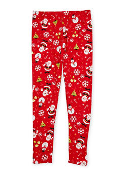 Girls 7-16 Soft Knit Christmas Leggings - 1623061950026