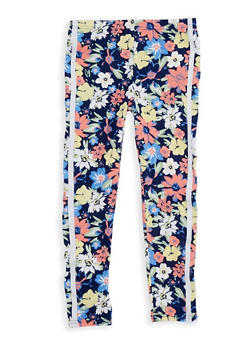 Girls 7-16 Soft Knit Floral Varsity Stripe Leggings - 1623061950043