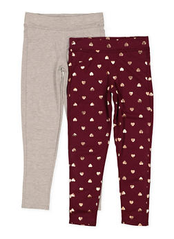 Girls 7-16 Heart Print and Solid Leggings Set - 1623061950048
