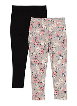 Girls 7-16 Pack of 2 Solid and Floral Pants - 1623061950050